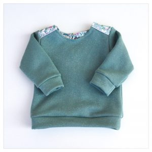 sweat pour bébé et enfant vert céladon pailleté à col claudine en liberty of london betsy pink/mint