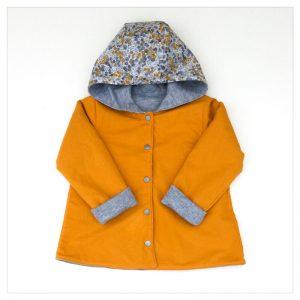 veste pour bébé et enfant sweat gris chiné/moutarde/wiltshire moutarde