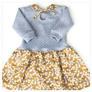 robe pour bébé et enfant en jersey matelassé gris chiné liberty of london mitsi moutarde