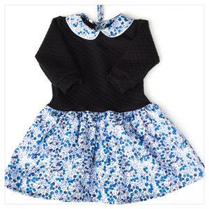 robe pour bébé et enfant en jersey matelassé noir liberty of london wiltshire curacao