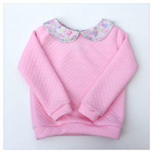 sweat pour bébé et enfant en jersey matelassé rose bonbon liberty of london betsy dragée