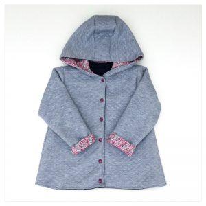 veste pour bébé et enfant gris chiné/marine/wiltshire bud bougainvilliers