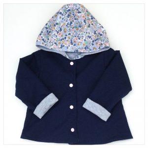 veste pour bébé et enfant gris chiné/marine/betsy denim