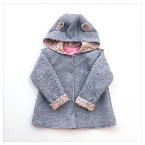 veste pour bébé et enfant sweat gris chiné/coton rose/wiltshire bud aurore
