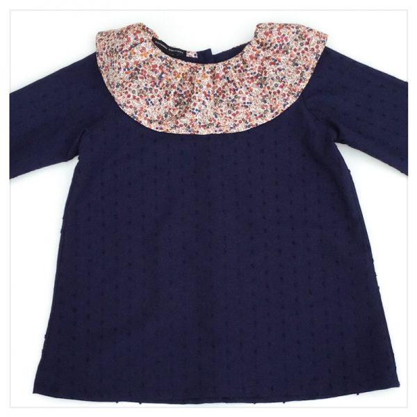 Blouse-en-plumetis-de-coton-marine-et-liberty-wiltshire-bud-noisette-enfant-bébé-retrochic-boutique