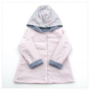 veste pour bébé et enfant sweat gris chiné/coton rose doux/betsy dragée