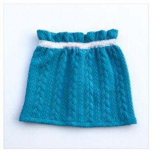 Jupe-torsadée-bleu-lagon-ceinture-argent-enfant-bébé-retrochic-boutique