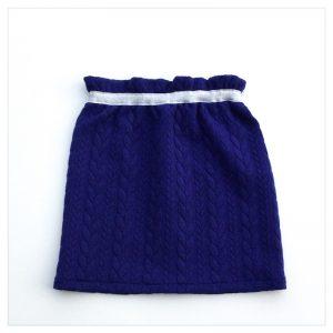 Jupe-torsadée-bleu-électrique-ceinture-argent-enfant-bébé-retrochic-boutique