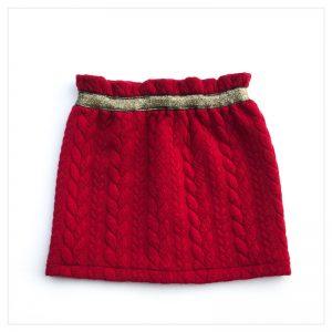Jupe-torsadée-cerise-ceinture-gold-enfant-bébé-retrochic-boutique