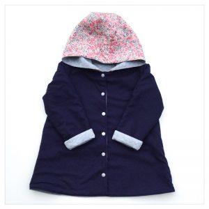 veste pour bébé et enfant sweat gris chiné/coton marine/wiltshire pois de senteur