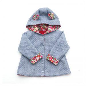 veste pour bébé et enfant sweat gris chiné/coton rouge/betsy grenadine