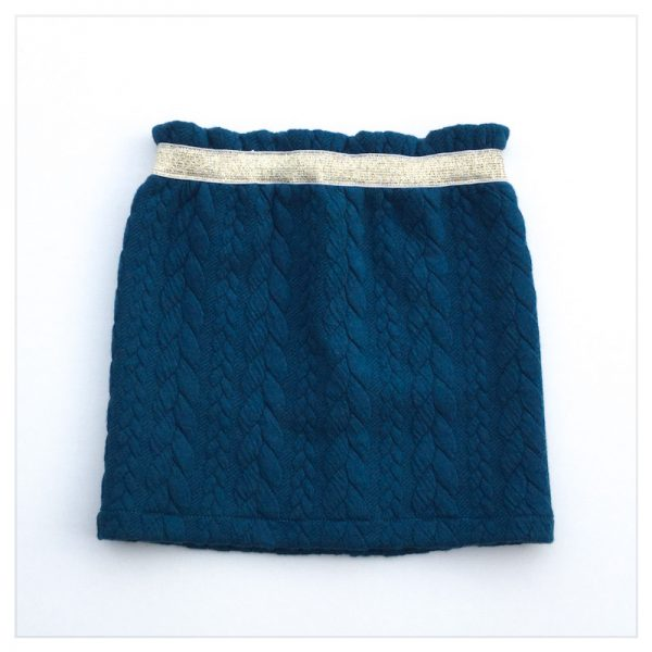 Jupe-torsadée-bleu-canard-ceinture-gold-enfant-bébé-retrochic-boutique
