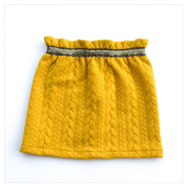 Jupe-torsadée-moutarde-ceinture-gold-enfant-bébé-retrochic-boutique