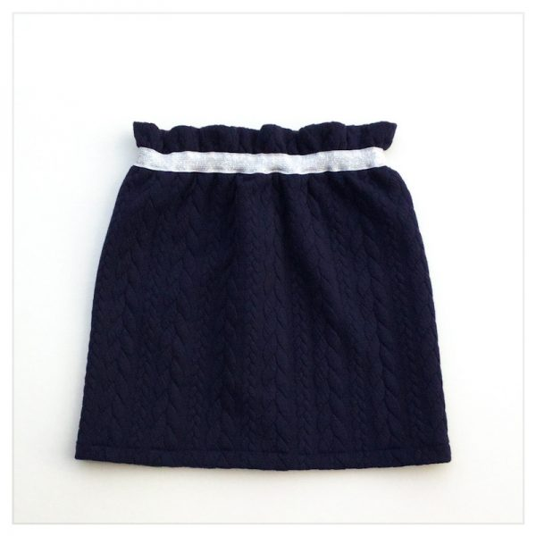 Jupe-torsadée-marine-ceinture-argent-enfant-bébé-retrochic-boutique