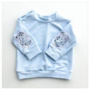 sweat pour bébé et enfant bleu chiné à coudières liberty adelajda navy