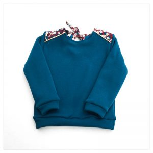 sweat pour bébé et enfant en sweat molleton bleu canard et liberty of london mitsi griotte