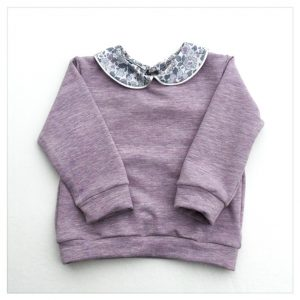 sweat pour bébé et enfant en sweat chiné lilas et liberty of london betsy platine