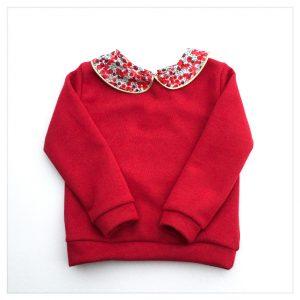 sweat pour bébé et enfant en sweat pailleté rouge liberty of london wiltshire winter