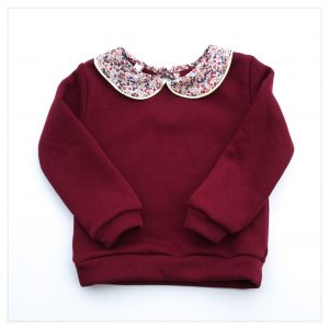 sweat pour bébé et enfant en sweat molleton griotte et liberty of london wiltshire bud noisette