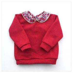 sweat pour bébé et enfant en sweat pailleté rouge liberty of london wiltshire rouge
