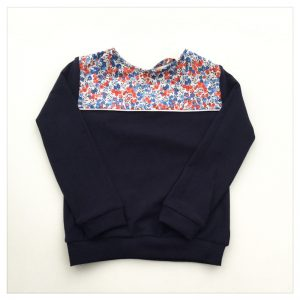 sweat pour bébé et enfant en sweat molleton bleu marine et liberty of london wiltshire marianne