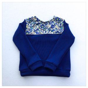 sweat pour bébé et enfant en sweat molleton bleu électrique et liberty of london betsy saphir