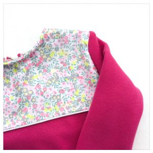 sweat pour bébé et enfant en sweat molleton fushia et liberty of london wiltshire macaron