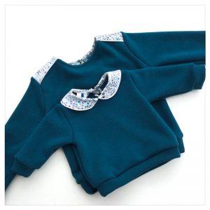 sweat pour bébé et enfant en sweat molleton bleu canard et liberty of london adaelajda navy