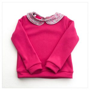 sweat pour bébé et enfant en sweat molleton fushia et liberty of london wiltshire bud bougainvilliers