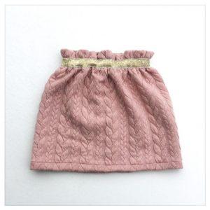 Jupe-torsadée-rose-ceinture-or-enfant-bébé-retrochic-boutique