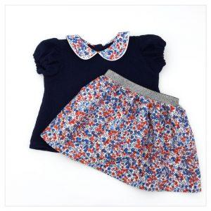 Blouse-en-gaze-de-coton-marine-et-liberty-wiltshire-marianne-enfant-bébé-retrochic-boutique