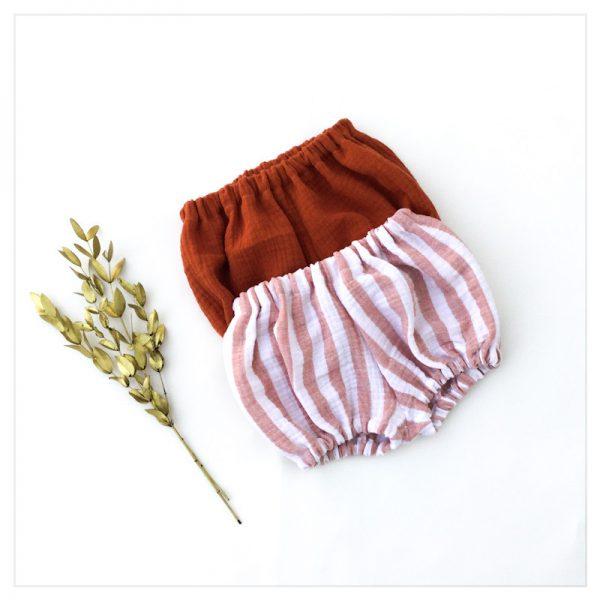 bloomer-shorty-gaze-coton-rayures-terracotta-bébé-enfant