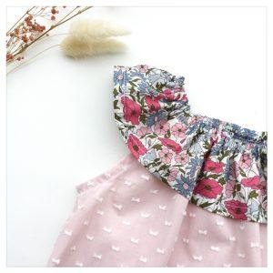 Top-en-plumetis-de-coton-rose-et-poppy-and-daisy-rose-enfant-bébé-retrochic-boutique