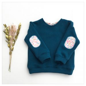 sweat pour bébé et enfant en sweat molleton bleu canard et liberty of london betsy barbapapa