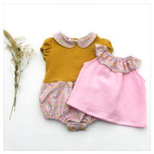 barboteuse-pour-bébé-liberty-wiltshire-bud-aurore-et-gaze-moutarde-retrochic-boutique