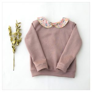 sweat pour bébé et enfant en sweat molleton rose pailleté et liberty of london betsy barbapapa