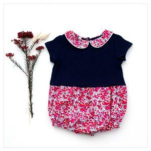 barboteuse-pour-bébé-liberty-wiltshire-rouge-et-gaze-marine-retrochic-boutique