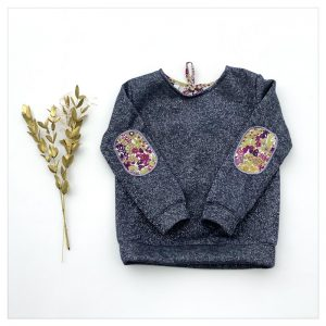 sweat pour bébé et enfant en sweat molleton anthracite pailleté et liberty of london margaret annie griotte
