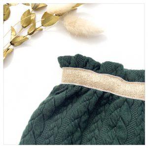 Jupe-torsadée-vert-sapin-ceinture-gold-enfant-bébé-retrochic-boutique