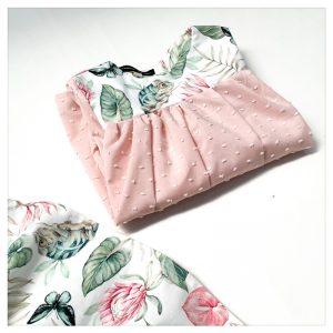 Blouse pour enfant plumetis rose et coton caméléon