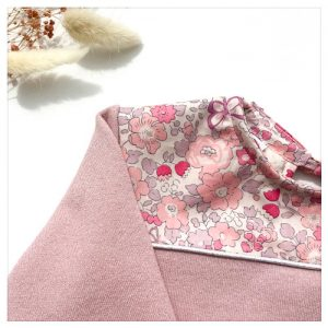 sweat pour bébé et enfant en sweat molleton rose pailleté et liberty of london betsy butterfly rose