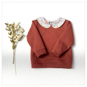sweat pour bébé et enfant en sweat molleton terracotta pailleté et liberty of london betsy terracotta