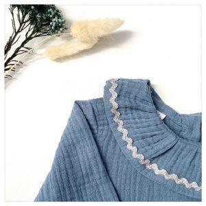 Blouse en coton pour enfant en gaze de coton bleu orage