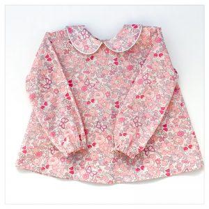Blouse-en-liberty-betsy-butterfly-rose-enfant-bébé-retrochic-boutique