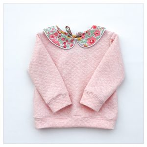 sweat pour bébé et enfant en sweat matelassé rose et liberty of london betsy pasteque