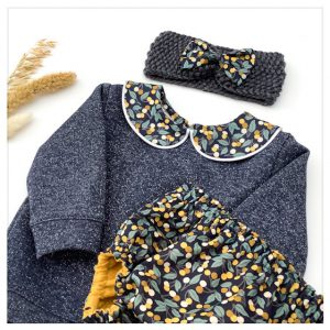 sweat pour bébé et enfant en sweat molleton anthracite pailleté et liberty of london cherry drop mirabelle