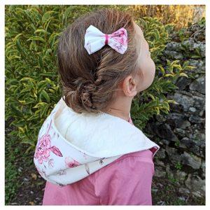 veste pour bébé et enfant crème/vieux rose/coton pivoine