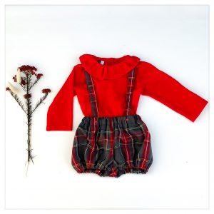 bloomer-shorty-en-lainage-tartan gris rouge à bretelles