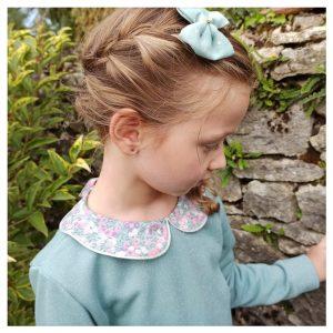 sweat pour bébé et enfant vert céladon pailleté à col claudine en liberty of london wiltshire blossom