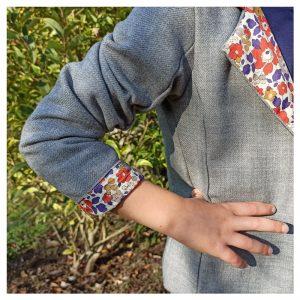 veste blazer pour fillette lainage et liberty